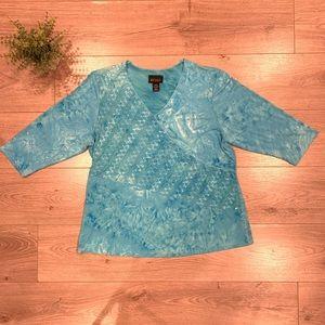 Lane Bryant 3/4 Sleeve Spandex Blue Top
